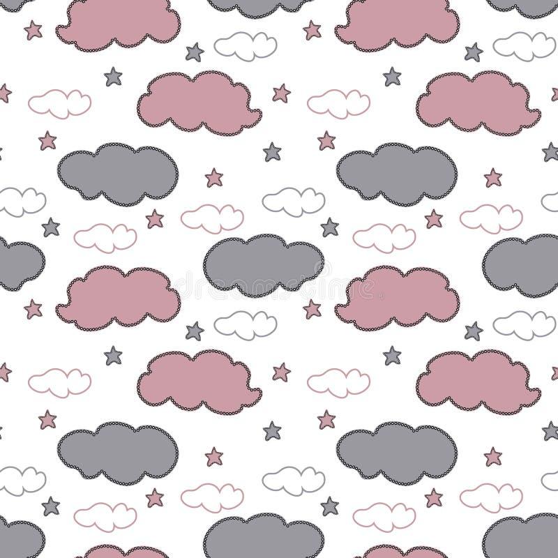 Gråa för hand utdragna och rosa moln och stjärnor på vit bakgrund royaltyfri illustrationer