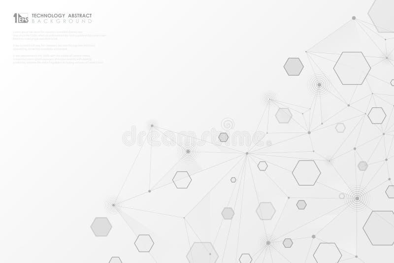 Gråa geometriska sexhörningslinjer anslutning för abstrakt teknologi på vit bakgrund Illustrationvektor eps10 royaltyfri illustrationer