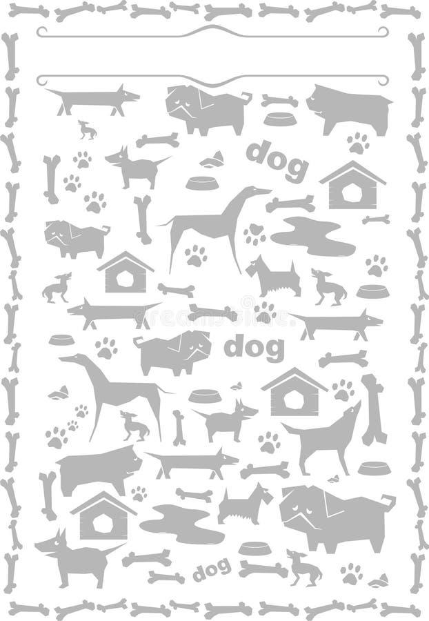 Gråa konturer av hundkapplöpning royaltyfri illustrationer