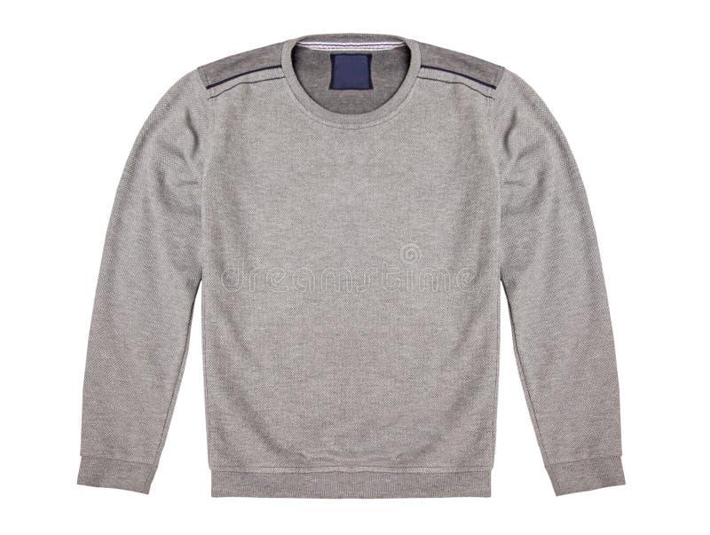 Gråa mäns tröja som isoleras på en vit bakgrund arkivfoto