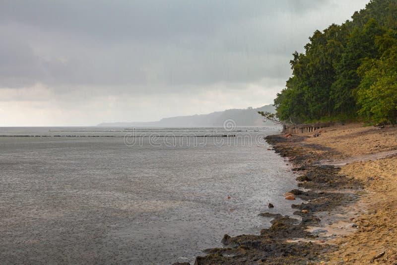 Gråa moln över sandkust för baltiskt hav arkivfoton