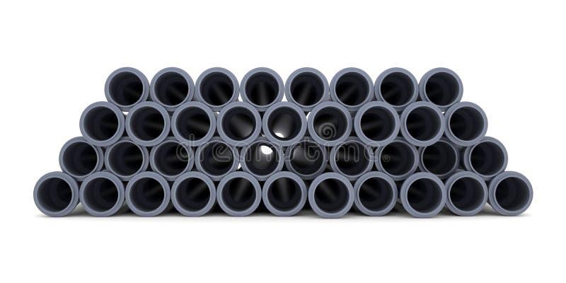 Gråa PVC-avklopprör royaltyfria bilder