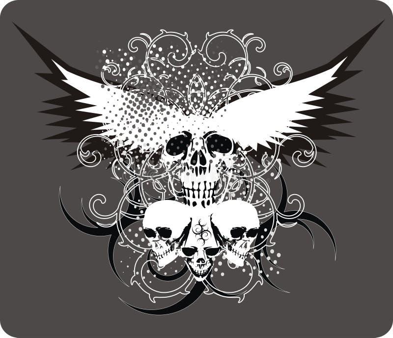 gråa skallar royaltyfri illustrationer