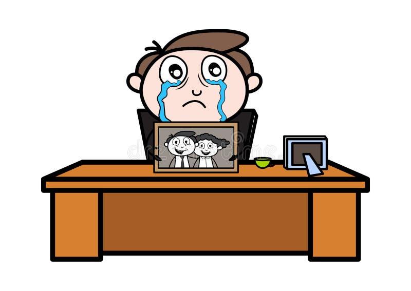 Gråt, når miss av hans fru - kontorsaffärsmanEmployee Cartoon Vector illustration arkivbilder