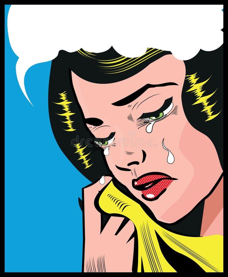 Gråta bakgrund för stil för det ledsna för kvinnapopkonst stiftet för illustrationen övre royaltyfri illustrationer