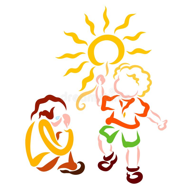 Gråta det olyckliga barnet och barnet som bär solen som en ballong royaltyfri illustrationer