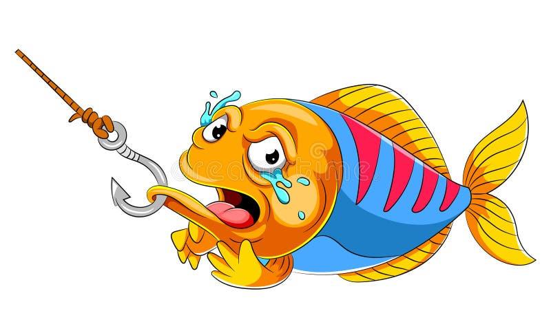 Gråta fisken på fiskkroken royaltyfri illustrationer