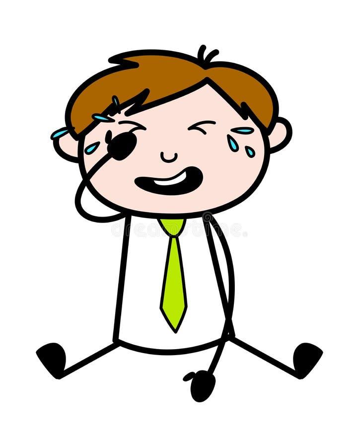 Gråta - kontorsrepresentantEmployee Cartoon Vector illustration royaltyfri illustrationer