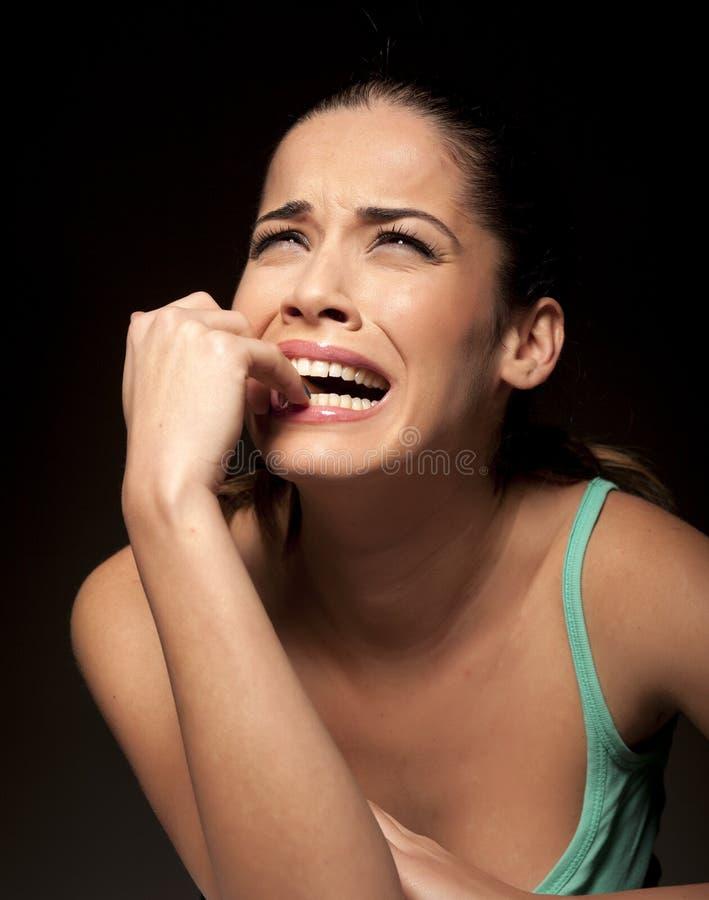 gråta kvinna royaltyfri foto