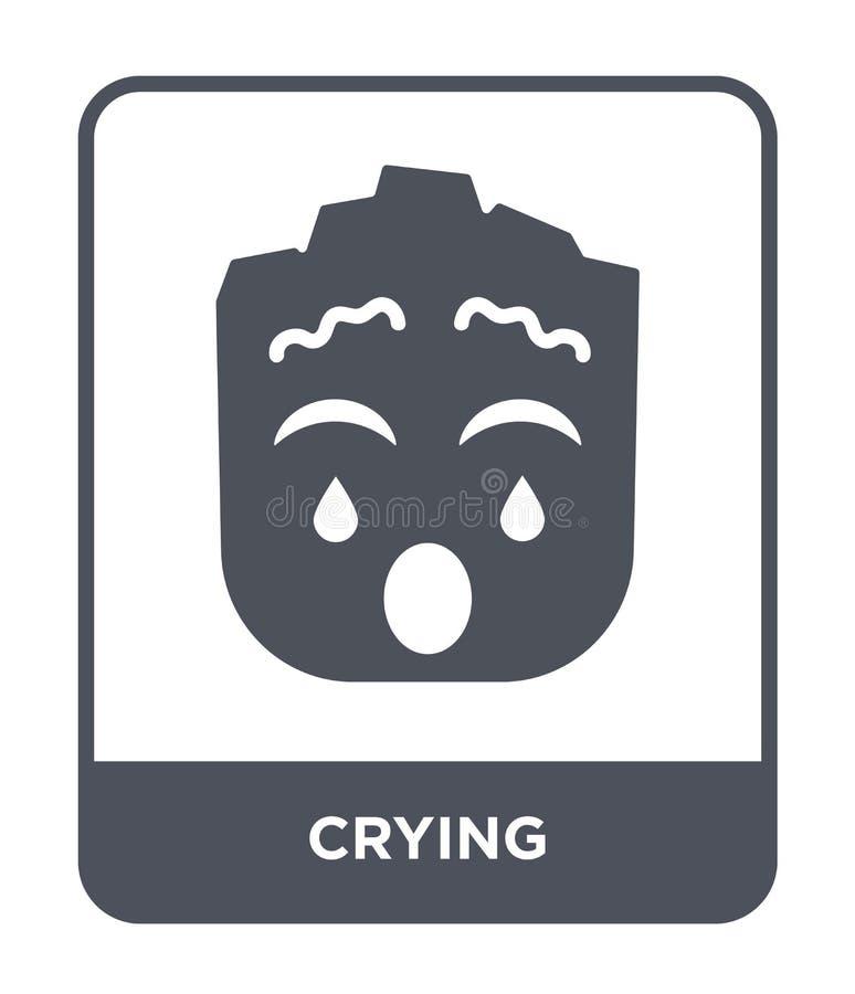 gråta symbolen i moderiktig designstil Skriande symbol som isoleras på vit bakgrund gråta det enkla och moderna plana symbolet fö vektor illustrationer