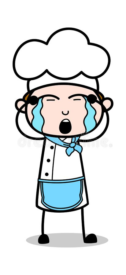 Gråta - tecknad filmuppassareMale Chef Vector illustration stock illustrationer