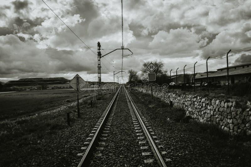 Gråton som skjutas av en lång järnväg fotografering för bildbyråer