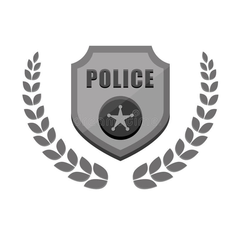 gråtonpolisen förser med märke symbolsbild royaltyfri illustrationer