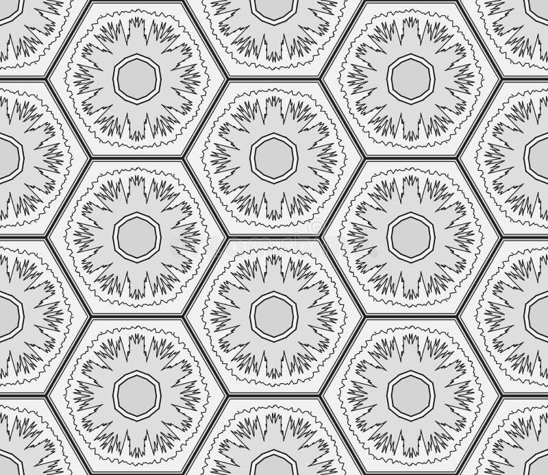 Gråtonsnöflingor i sömlös bakgrund för sexhörningar Modell för vinterferier royaltyfri illustrationer