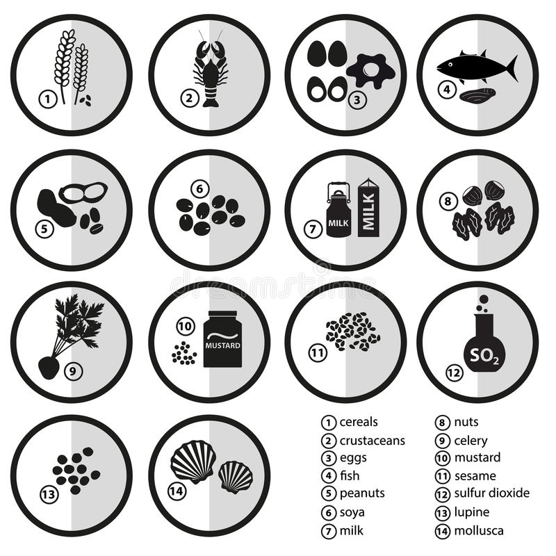 Gråtonuppsättning av typiska matalergens för restauranger vektor illustrationer