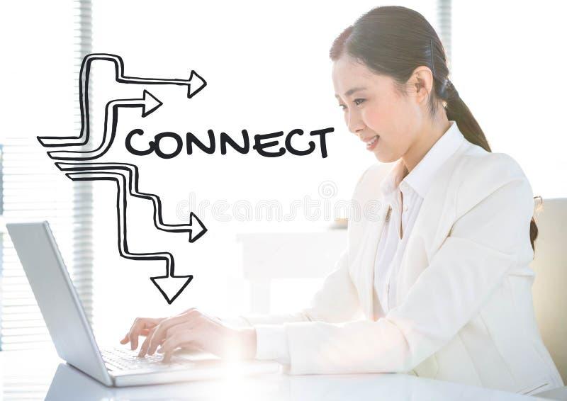 Grått anslutningsdiagram mot affärskvinna på bärbara datorn bredvid ljust fönster stock illustrationer