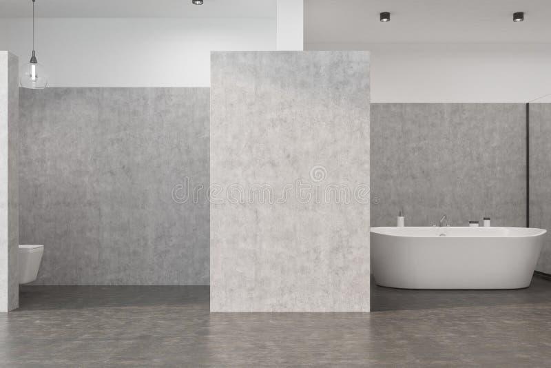 Grått badrum med en toalett stock illustrationer
