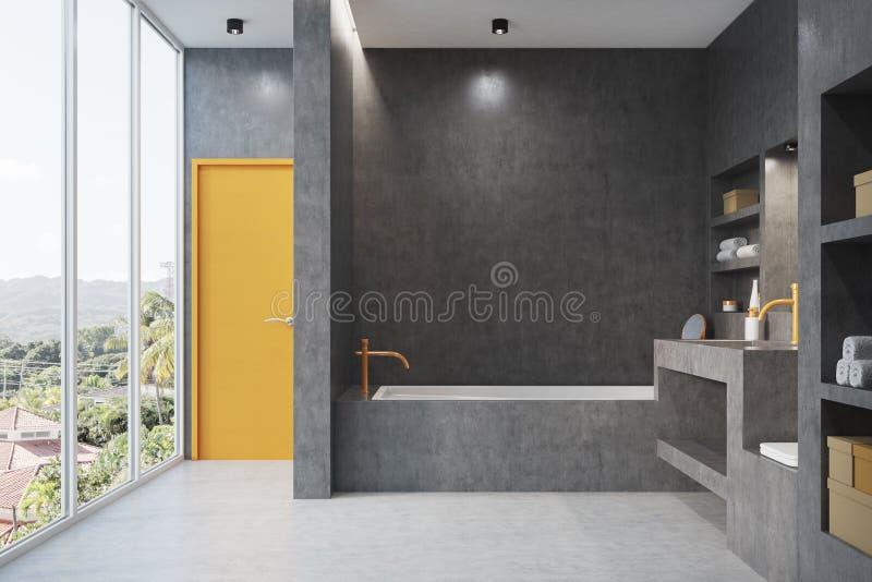 Grått badrum med ett fönster vektor illustrationer