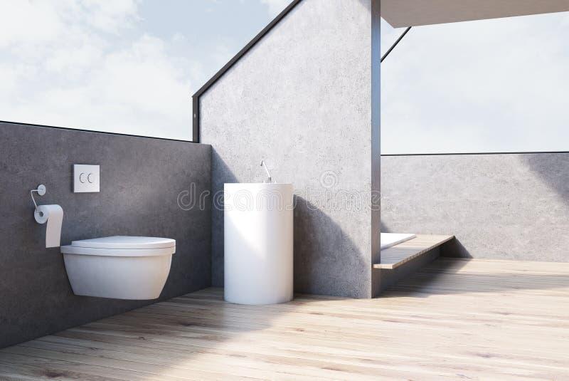 Grått badrum med toaletten, trä, sida royaltyfri illustrationer