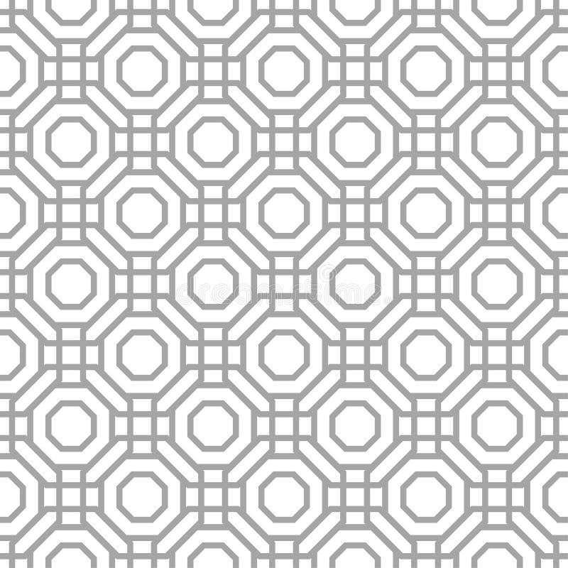 Grått geometriskt tryck på vit bakgrund seamless modell vektor illustrationer