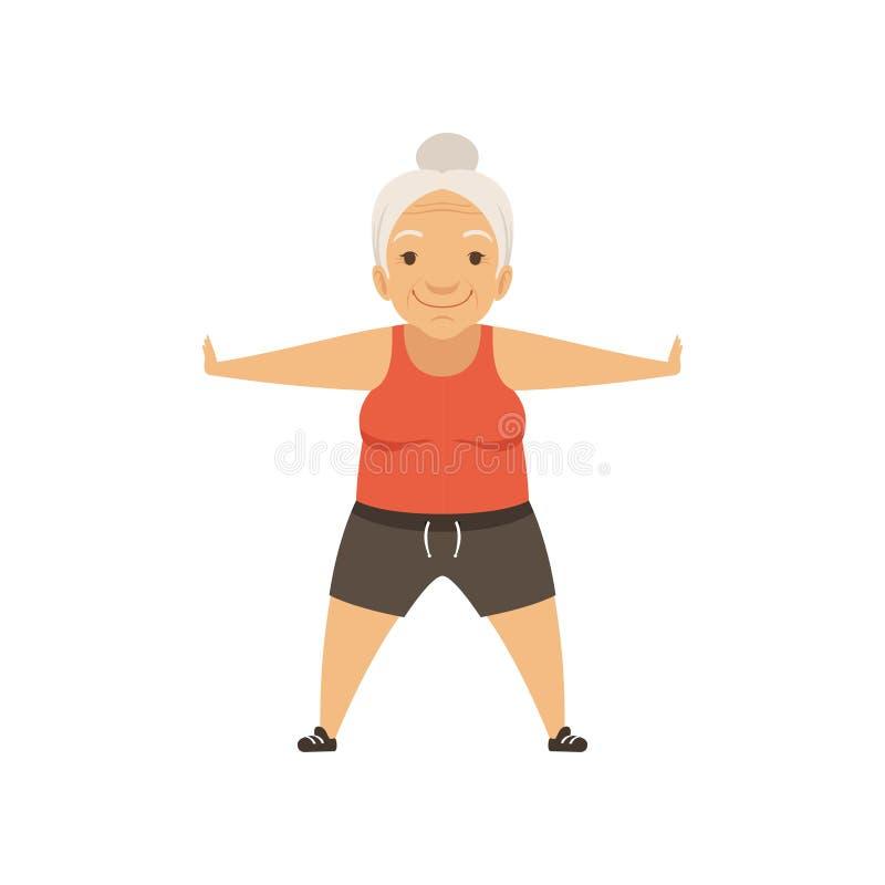 Grått högt kvinnatecken som gör morgonövningar eller den terapeutiska aktiv och sund livsstilvektorn för gymnastik, vektor illustrationer