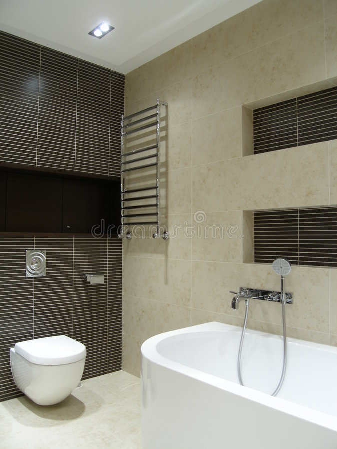 grått modernt för badrum royaltyfri bild