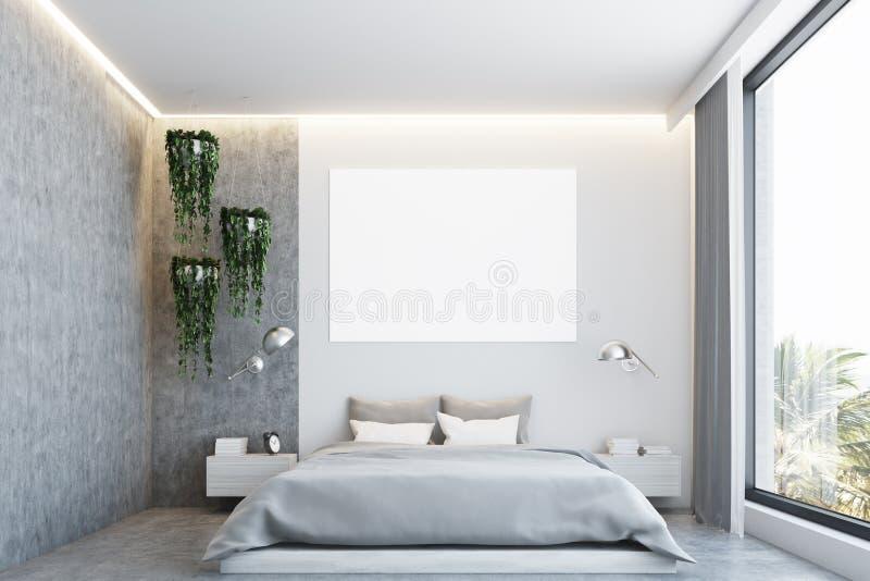 Grått och konkret sovrum, affisch stock illustrationer