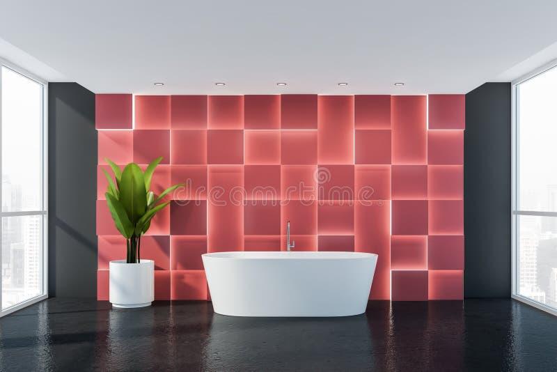 Grått och rött badrum med badkaret royaltyfri illustrationer