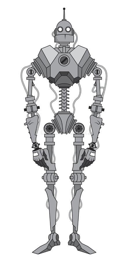 Grått robotskelett med antennen royaltyfri illustrationer