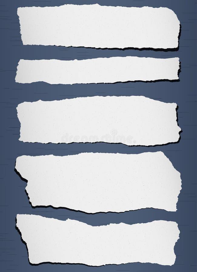 Grått sönderrivet kornigt papper på blå bakgrund royaltyfri illustrationer