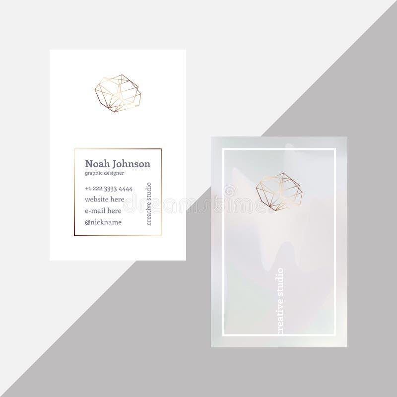 Grått tvåsidigt affärskort med den crystal logoen royaltyfri illustrationer