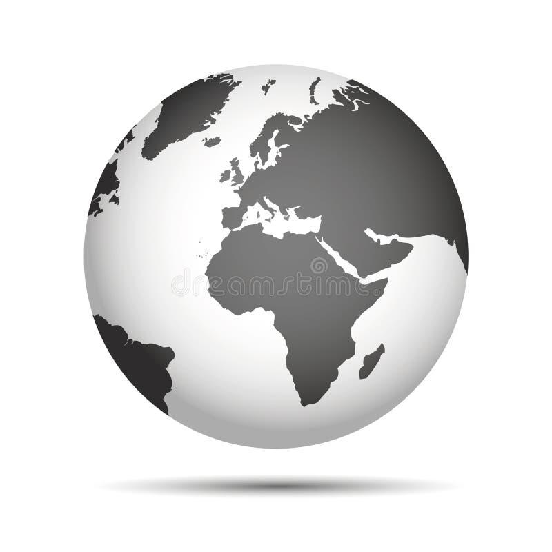 Grått världsjordjordklot royaltyfri illustrationer