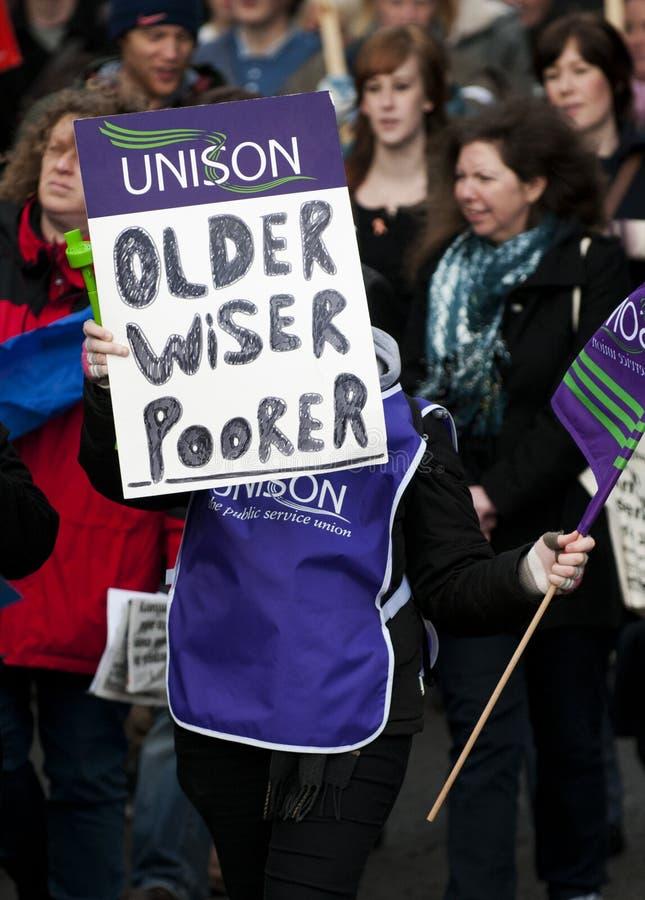 Grève BRITANNIQUE de pensions photographie stock libre de droits