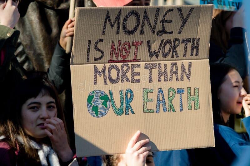 Grève d'école pour le changement climatique images libres de droits