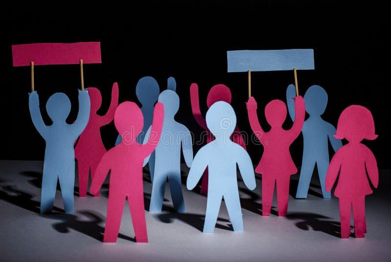 Grève et protestation de concept de personnes image stock