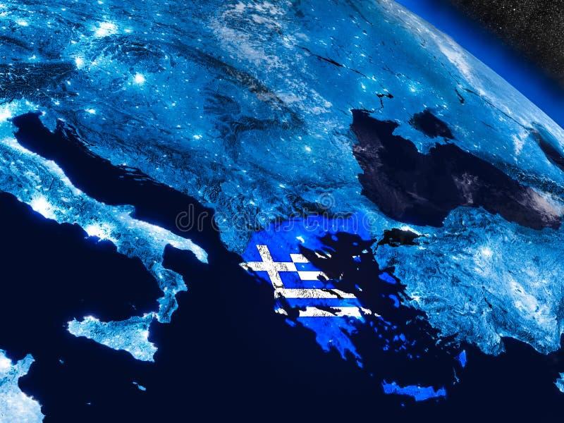 Grécia com a bandeira encaixada do espaço ilustração royalty free
