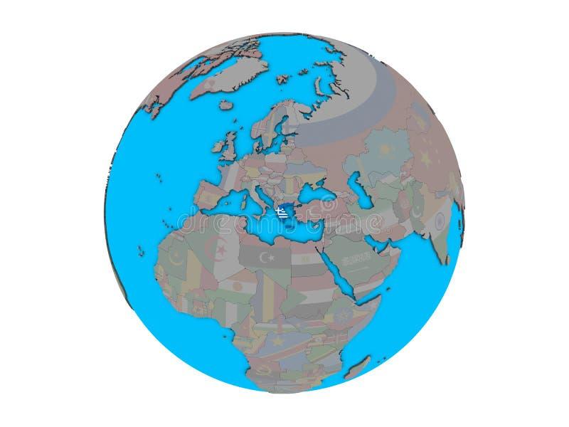 Grécia com a bandeira no globo isolado ilustração do vetor