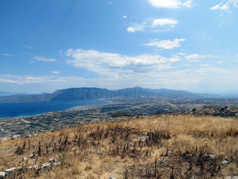 Grécia, Corinth, da parte superior da montanha fotos de stock