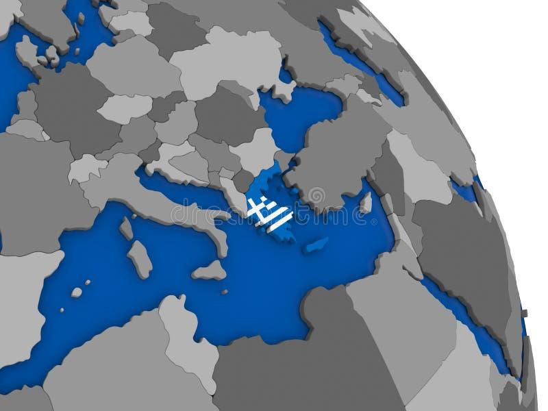 Grécia e sua bandeira no globo ilustração royalty free