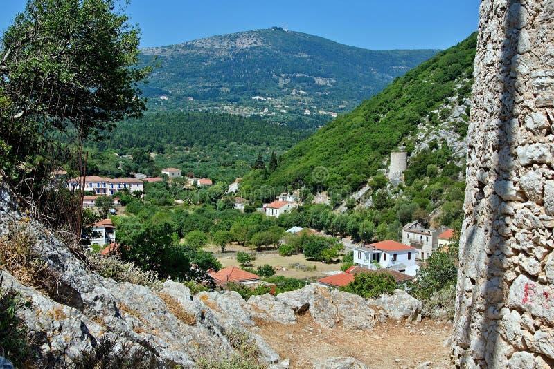 Grécia, a ilha de Ithaki - uma vista do Frikes fotos de stock royalty free