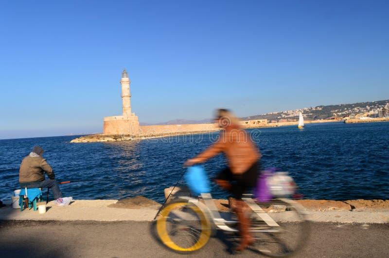 Grécia: Porto Venetian Chania fotos de stock royalty free