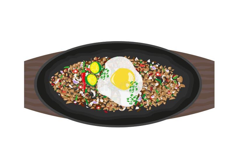 Grésillant Sisig fait en variété de recettes mais complété avec l'oeuf, les épices et le jus de calamansi illustration de vecteur