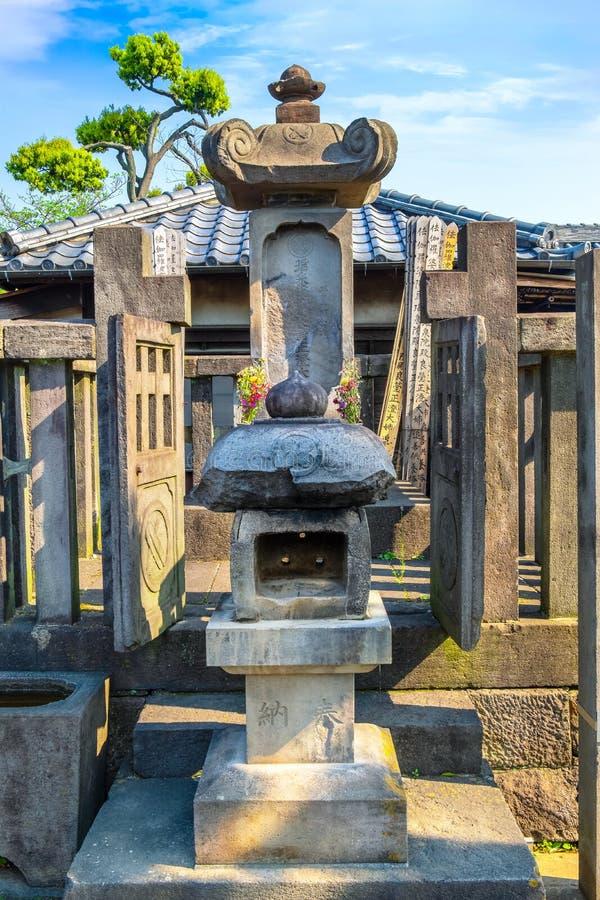 Grób damy Ako mistrz 47 ronin przy Sengakuji świątynią w Tokio, Japonia obrazy royalty free