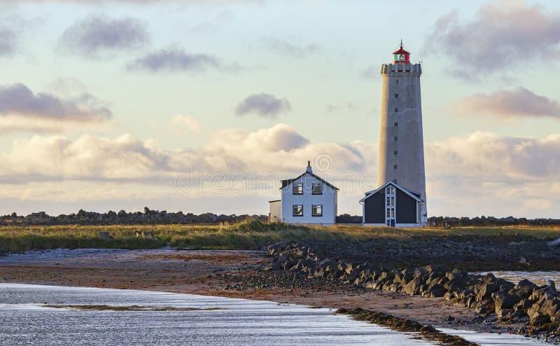 Grótta Island Lighthouse. In Iceland at sunset stock images