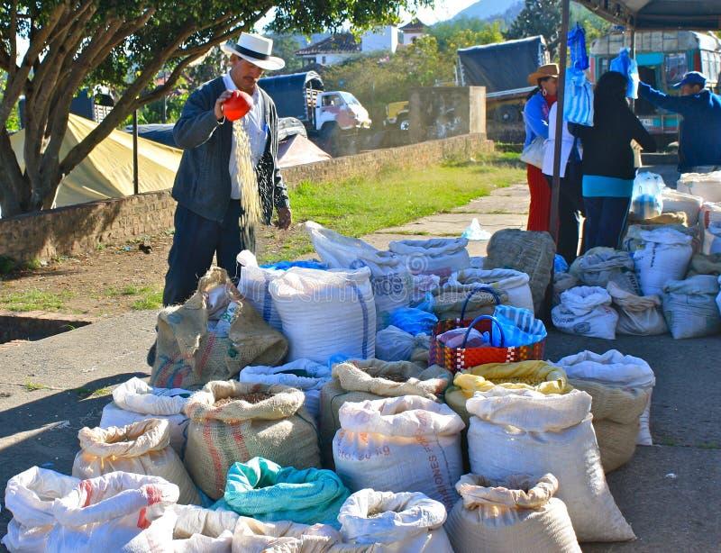 Grões da limpeza do homem. Mercado de Farmer´s, Colômbia imagens de stock royalty free