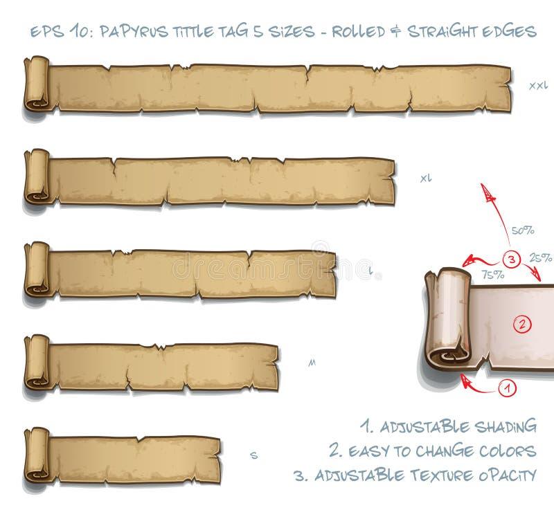 Größen Papyrus Tittle-Tag-fünf - gerollt und Latten stock abbildung