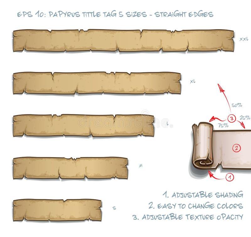 Größen Papyrus Tittle-Tag-fünf - Latten stock abbildung