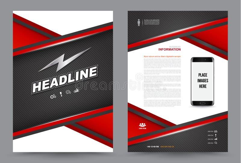 Größendesign der Abdeckungsjahresbericht Broschüren-Broschüren-Fliegerschablone A4 stock abbildung