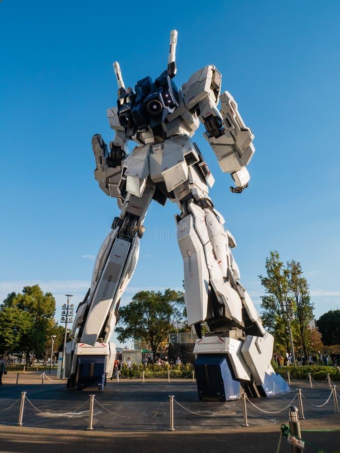 Größengleich von RX-0 Unicorn Gundam am Taucher City Tokyo Plaza in Od lizenzfreie stockbilder