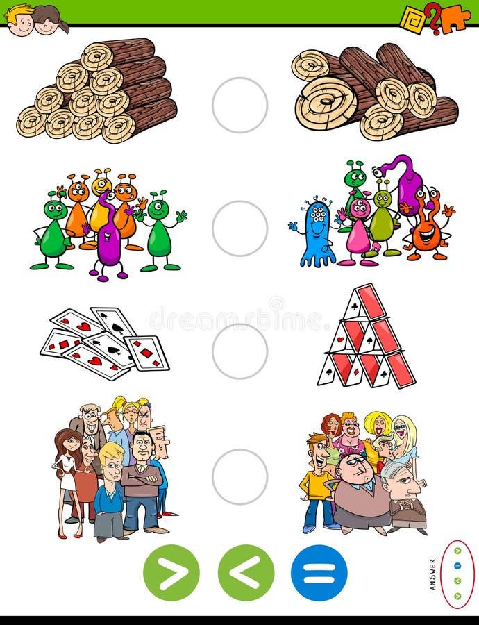 Größer kleiner oder gleiches Karikaturrätselspiel vektor abbildung